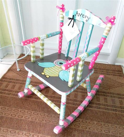 painted child rocking chair personalized child chair