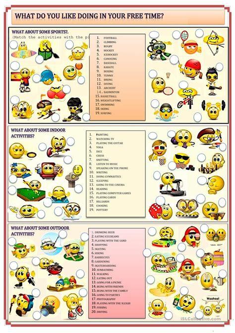 hobbies  leisure activities worksheet  esl