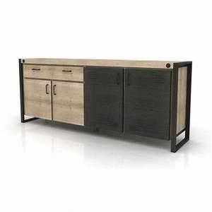Buffet Bas Industriel : buffet bas 4 portes 1 tiroir industriel yorker ~ Teatrodelosmanantiales.com Idées de Décoration