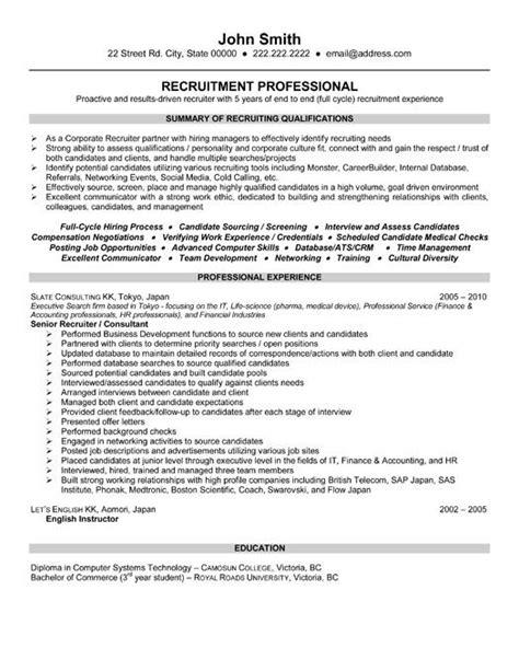 Recruiting Resume by Executive Recruiter Resume Hr Recruiter Resume Sles