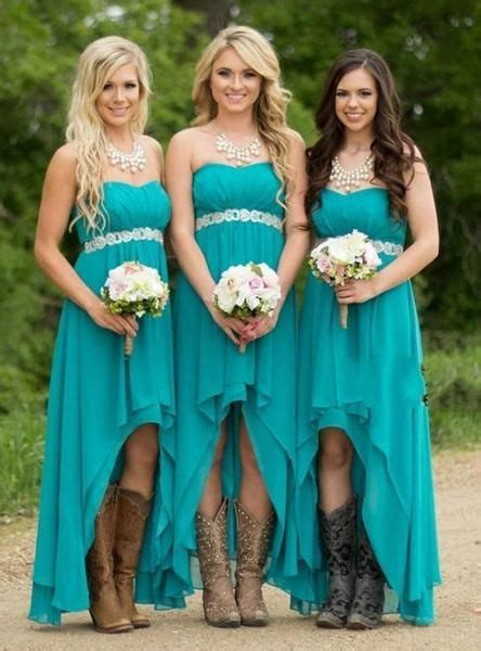 high  chiffon strapless long bridesmaid dresses beading