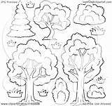 Shrubs Trees Flowers Cartoon Lush Coloring Outlined Shrubbery Clipart Royalty Visekart Vector Pages Sketch Illustration Template sketch template