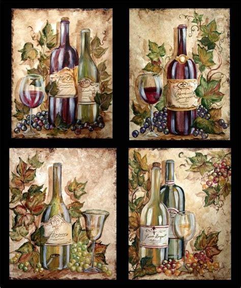 Wine Bottle Grapes On Wine Bottles  Tre Sorelle Art For