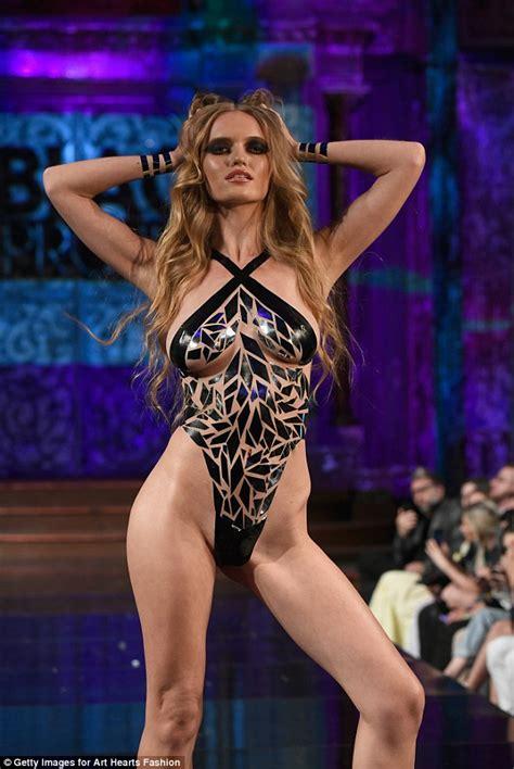 Designer sends models down NYFW runway in tape bikinis ...