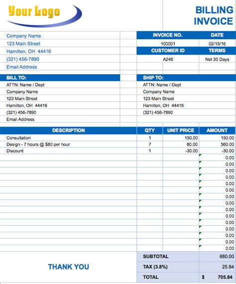 Invoice Template Excel Editable Invoice Template Excel Invoice Exle