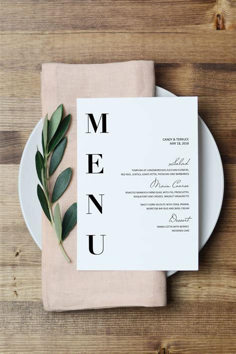 wedding menu template modern menu cards template minimal