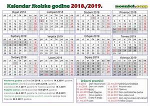 Školski KALENDAR s državnim praznicima za 20182019 godinu