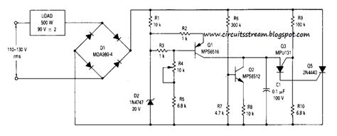 build a simple 90vrms voltage regulator circuits diagram