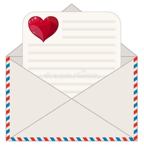 11577 letter and envelope clipart envelope with a letter in the form of valentines stock