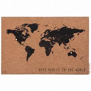 Carte Du Monde En Liège : p le m le carte du monde en li ge marron et noir 60x40 ~ Melissatoandfro.com Idées de Décoration
