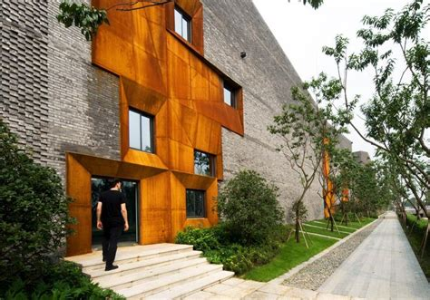 Sky Courts Exhibition In Chengdu by Grey Bricks Weathering Steel Windows Cor Ten H 246 Weler