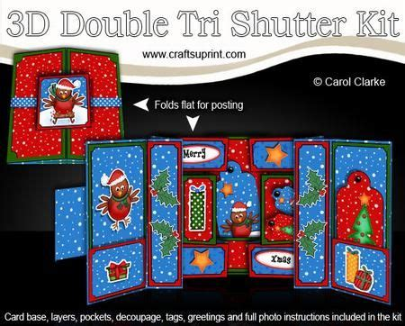 xmas robins double tri shutter card kit  xmas robins