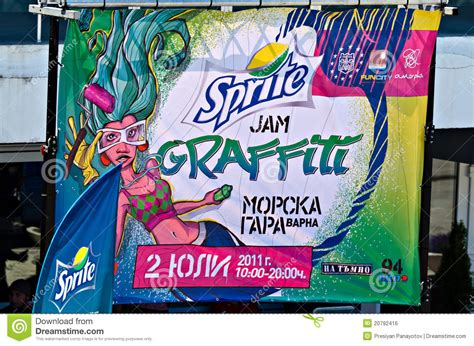 Graffiti Poster : Poster Of The Sprite Graffiti Jam Editorial Photo
