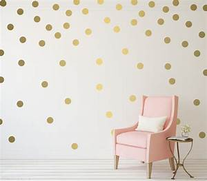 gold polka dot vinyl wall stickers nursery decal pattern With gold wall decals