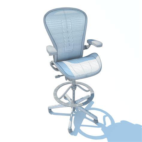 aeron work stool chair herman miller 3d model max obj