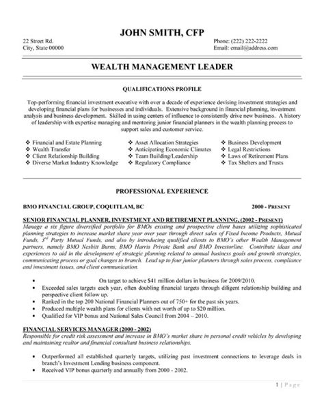 Wealth Manager Resume wealth management leader resume template premium resume sles exle