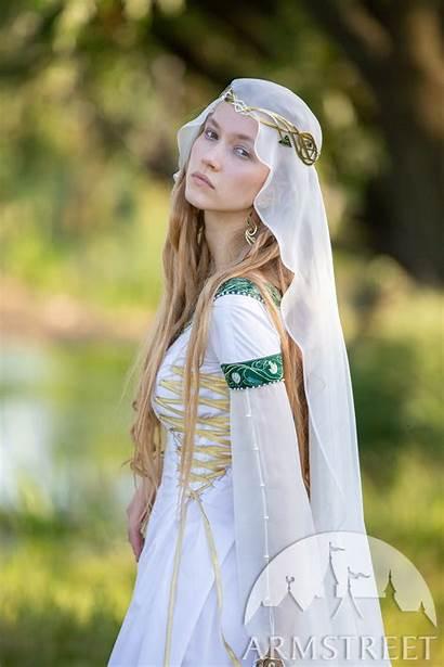 Medieval Head Covering Veil Hair Silk Flowers