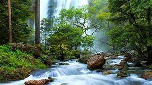 Thailand, Waterfalls, Falls, From, A, Height, River, Rocks, Stones