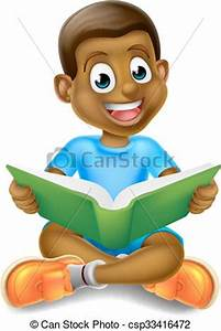 Vectors Illustration of Cartoon Boy Reading Book - A ...