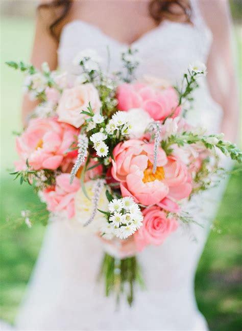 Pink Peony Wedding Bouquet With Wildflowers Deer Pearl
