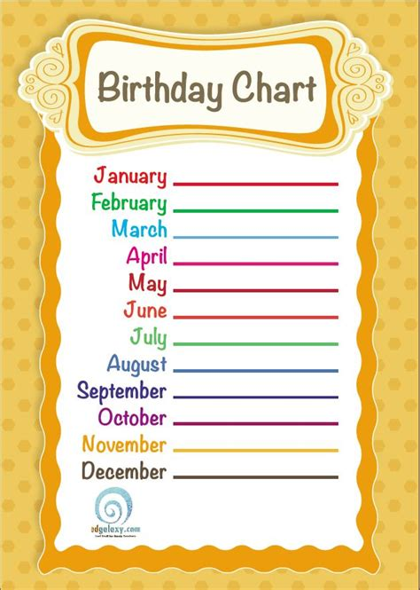 Birthday Chart Template For Classroom by Free Printable Classroom Birthday Chart Edgalaxy Cool