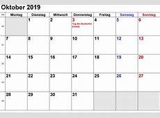 Kalender Oktober 2019 zum Ausdrucken [PDF, Excel, Word