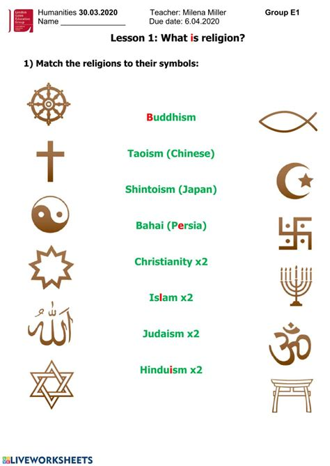 Religion Worksheet