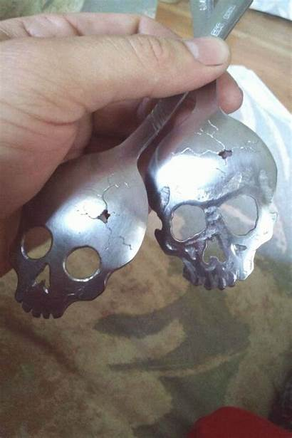 Metal Spoon Fork Skull 4pint Craft Carving