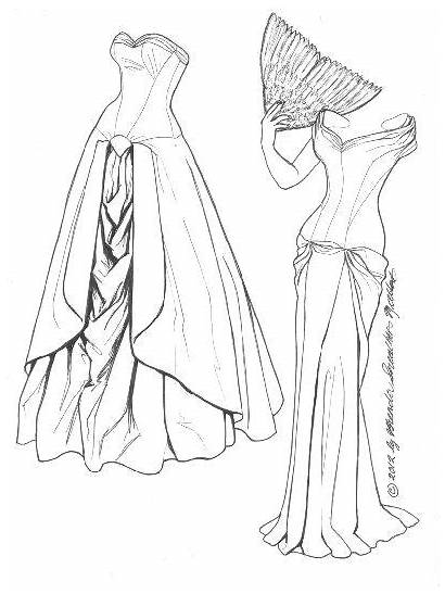 Coloring Ball Gown Pages Paper Charles James