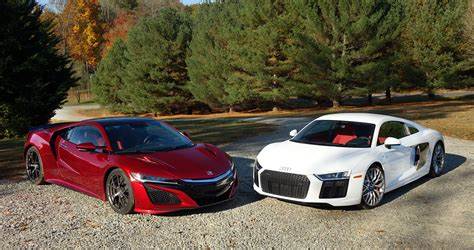 audi r8 acura nsx vs audi r8 we compare tech versus higher tech