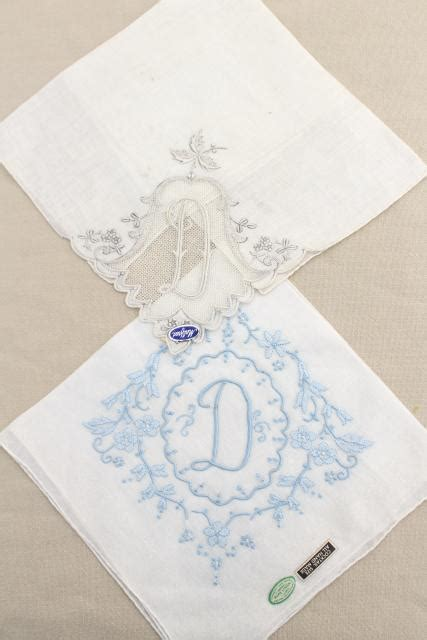 monogrammed handkerchiefs 2 letter monogram by lot vintage ladies hankies d monogram letter embroidered
