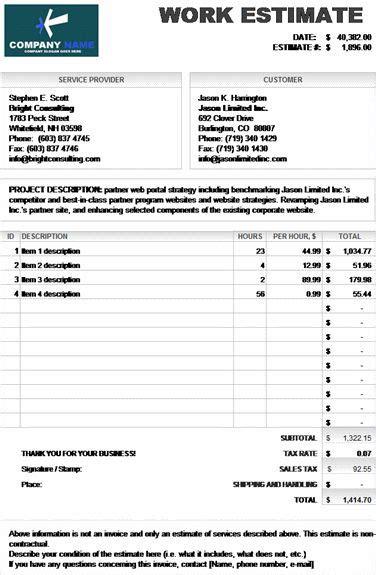 microsoft excel work estimate invoice calculates total