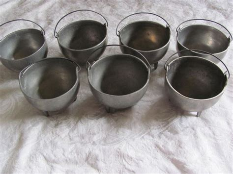 mini cauldron footed handled soup bowls metalware pewter