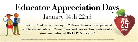 barnes and noble educator barnes and noble educator appreciation days coupons and