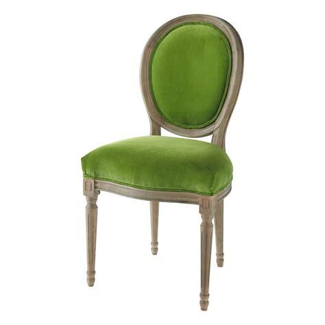 la chaise verte chaise médaillon en velours et chêne massif verte louis