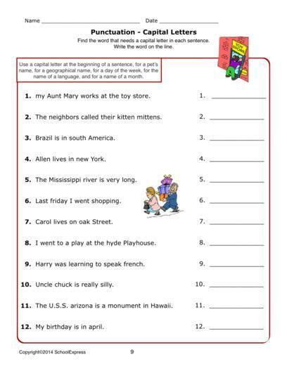 worksheets grammar capital letters