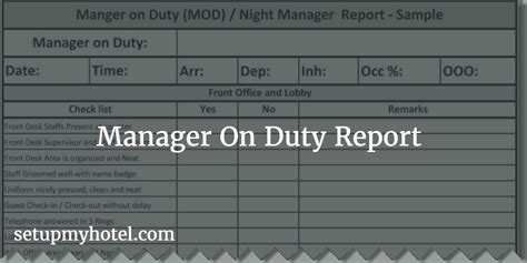 Shift Kerja Hotel by Manager On Duty Mod Report Night Manager Checklist