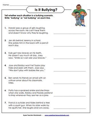 anti bullying worksheets activities