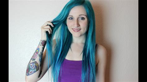 Peacock Blue Hair Dye Time Glued Extensions Youtube