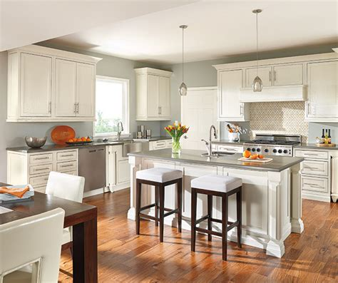 Design your splash with decorative tiles also oak cabinets slate floor. Off White Cabinets with Glaze - Decora Cabinetry