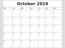 October 2019 Printable Calendar monthly printable calendar