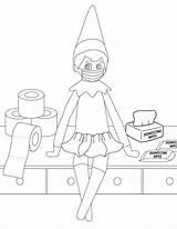 Elf Shelf Coloring sketch template