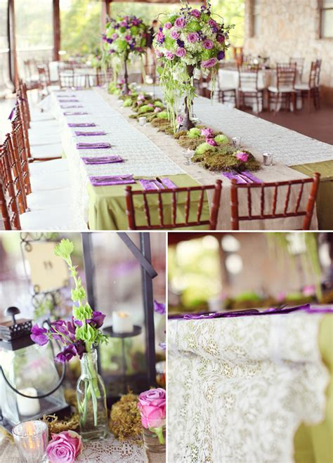 vintage romantic purple green wedding