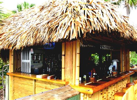 Great Home Pool Tiki Bar With Outdoor Living Furniture