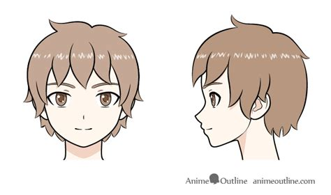 Anime & manga tv personality anime hairstyle cute.colorful hairstyles. Anime boy head front and side view drawing | Anime boy ...
