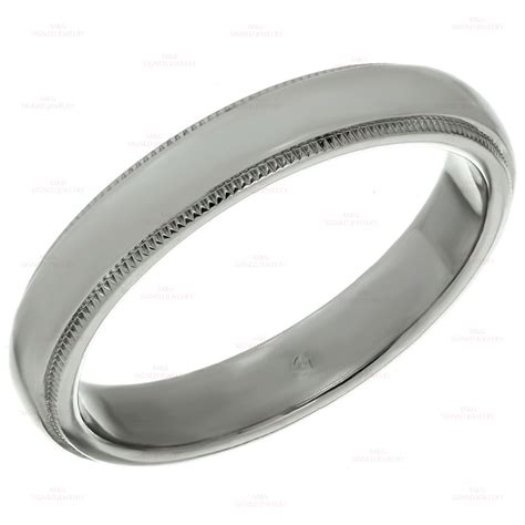 tiffany platinum milgrain mens wedding band ring