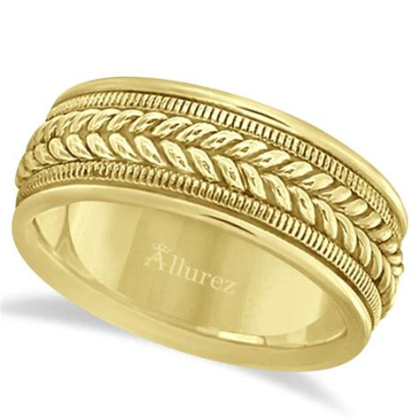 woven milgrain edge wedding ring for 14k yellow gold 8mm ub900