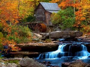old, wooden, mill, water, flow, rock, waterfall, hd, wallpaper, for