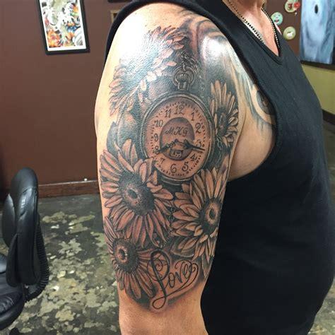 black  grey clock flower tattoo