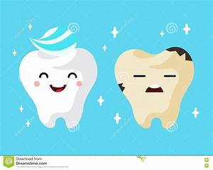 Healthy And Unhealthy Sad Tooth Cartoon Characters Stock ...